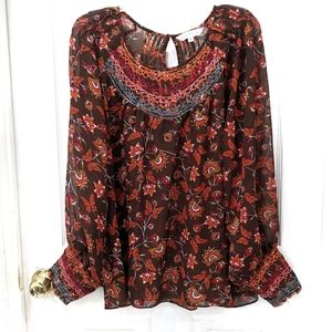 Ranna Gill Montrose Embroidered Peasant Blouse XL